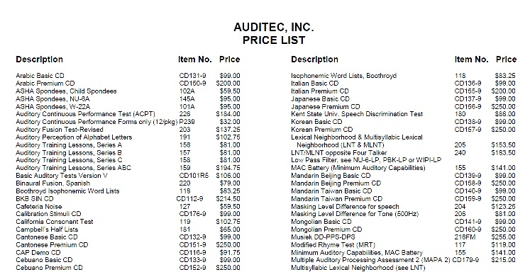 PRINTABLE AUDITEC PRICE LIST